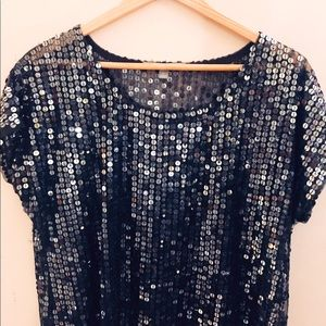 Holiday NY Collection sequin net shirt